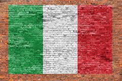 Flag of Italy painted over brick wall Stock Image