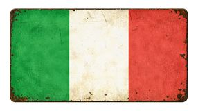 Flag of Italy. Vintage metal sign on a white background - Flag of Italy Stock Photography