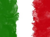 Flag of Italy by watercolor paint brush, grunge style Royalty Free Stock Photo