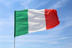 Flag of Italy. In the wind. National symbol Royalty Free Stock Photo