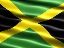 Flag of Jamaica. Computer generated illustration with silky appearance and waves royalty free illustration