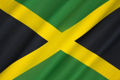Flag of Jamaica. Adopted on 6th August 1962, the original Jamaican Independence Day, the country having gained independence from the British-protected royalty free stock image