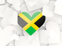 Flag of jamaica, heart shaped stickers. Background. 3D illustration Stock Photos