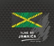 Flag of Jamaica, vector pen illustration on black background Royalty Free Stock Image