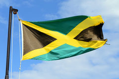 Flag of Jamaica. Waving against blue sky.  have a gold saltire on a green and black field stock images