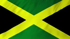 Flag of the Jamaica waving in the wind animation 2 in 1. Flag of the Jamaica waving in the wind seamless loop with highly detailed fabric texture stock video
