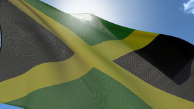 Flag Of Jamaica. Waving on the wind with the sun behind, Seamless Loop, Fabric Details royalty free illustration