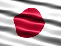 Flag of Japan. Computer generated illustration with silky appearance and waves Royalty Free Stock Photos