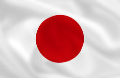 Flag of Japan. Japanese waving flag (background or wallpaper Stock Images
