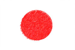 Flag of Japan background o texture, color pencil effect. Stock Photography