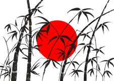 Flag of Japan and  bamboo. Flag of Japan and silhouette of branches of a bamboo Royalty Free Stock Images