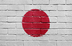 Flag of Japan on brick wall Royalty Free Stock Photography