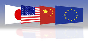 Flag of Japan, the U.S., China and Europe Royalty Free Stock Photos