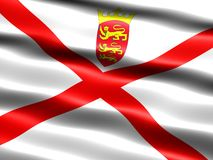 Flag of Jersey. Computer generated illustration of the flag of Jersey with silky appearance and waves Royalty Free Stock Photos