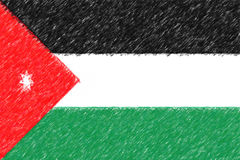 Flag of Jordan background o texture, color pencil effect. Stock Image