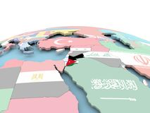 Flag of Jordan on bright globe. Jordan on political globe with embedded flags. 3D illustration Stock Images