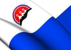 Flag of Kamchatka Krai, Russia. 3D Flag of Kamchatka Krai, Russia. Close Up Stock Photography