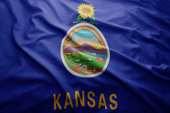 Flag of Kansas state. Waving colorful Kansas state flag royalty free stock image