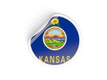 Flag of kansas, US state round sticker Royalty Free Stock Image