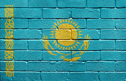 Flag of Kazakhstan on brick wall Royalty Free Stock Photos