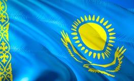 Flag of Kazakhstan. 3D Waving flag design. The national symbol of Kazakhstan, 3D rendering. National colors of Kazakhstan 3D. Waving sign background design.CIS stock photos