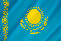 Flag of Kazakhstan - Kazakh Flag. Flag of the Republic of Kazakhstan - adopted on 4 June 1992, replacing the flag of the Kazakh Soviet Socialist Republic. The Stock Photo