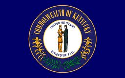 Flag of Kentucky, USA. Flag of Kentucky officially the Commonwealth of Kentucky, is a state located in the east south-central region of the United States royalty free stock image