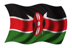 Flag of Kenya. Waving in the wind - clipping path included Stock Photos