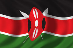 Flag of Kenya. Waving in the wind Stock Photo