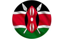 Flag of Kenya. Waving over white background Stock Image