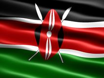 Flag of Kenya. Computer generated illustration with silky appearance and waves Royalty Free Stock Images