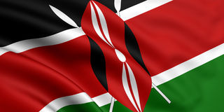 Flag Of Kenya. 3d rendered and waving flag of kenya
