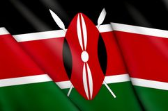 Flag of Kenya. This is an illustration of folded flag Stock Photos