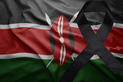 Flag of kenya with black mourning ribbon Stock Photography
