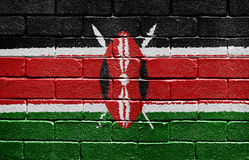 Flag of Kenya on brick wall Stock Photos