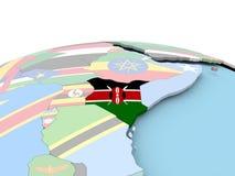 Flag of Kenya on bright globe. Kenya on political globe with embedded flags. 3D illustration Royalty Free Stock Photo