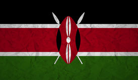 Flag of Kenya with the effect of crumpled paper and grunge Stock Photo
