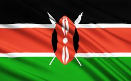 Flag of Kenya, Nairobi. Flag of Kenya - The Kenyan flag is based on that of Kenya African National Union and was adopted on 12th December 1963 as the national Royalty Free Illustration