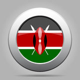 Flag of Kenya. Shiny metal gray round button. Stock Photography