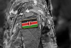 Flag of Kenya on soldiers arm. Kenya flag on military uniform. A. Rmy, troops, military, Africa collage royalty free stock photography