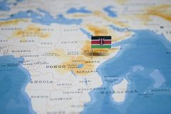 The Flag of kenya in the world map.  stock photography