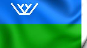 Flag of the Khanty-Mansi Autonomous Okrug, Russia. 3D Flag of the Khanty-Mansi Autonomous Okrug, Russia. Close Up Royalty Free Stock Photo
