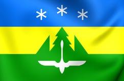 Flag of Khanty-Mansiysk City, Russia. 3D Flag of Khanty-Mansiysk City, Russia. Close Up Stock Images