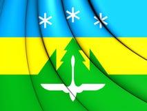 Flag of Khanty-Mansiysk City, Russia. 3D Flag of Khanty-Mansiysk City, Russia. Close Up Royalty Free Stock Photo