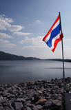 Flag on Khun Dan Dam. Thai Flag on Khun Dan Damn in Nakorn Nayok Stock Images