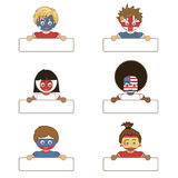 Flag kids holding tags. Children with flag faces holding blank tags ready for text Royalty Free Stock Images