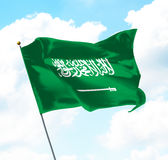 Flag of Kingdom of Saudi Arabia. Raised Up in The Sky royalty free illustration