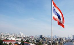 Flag of the Kingdom of Thailand on the background of Bangkok Stock Photography