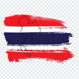 Flag Kingdom of Thailand from brush strokes and Blank map Kingdom of Thailand. High quality map of Thailand on transparent backgr. Ound. Stock vector. Vector royalty free illustration