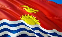Flag of Kiribati. 3D Waving flag design. The national symbol of Kiribati, 3D rendering. National colors of Kiribati 3D Waving sign. Background design. 3D ribbon stock images
